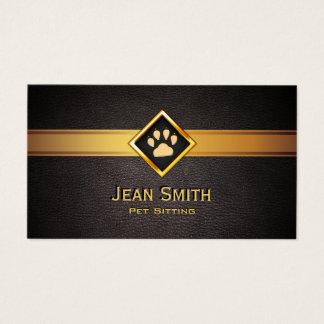Pet Sitting Monogram Gold Pet Paw Pet Care Business Card