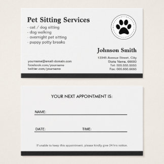 Pet Sitting Pet Care - Appointment Business Card