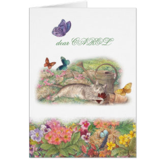 pet sympathy, cat in garden, heartfelt message card