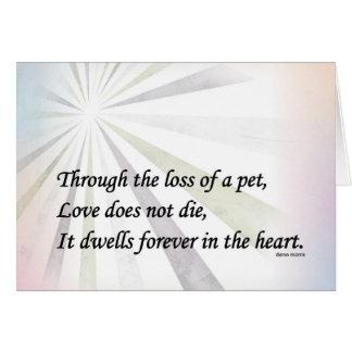 Pet sympathy memorial card