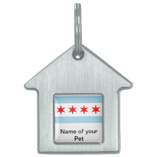 Pet Tag with Flag of Chicago, Illinois State