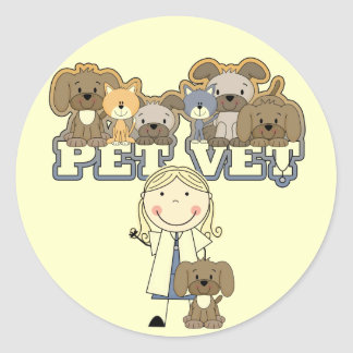 Pet Vet Blond Female Tshirts and Gifts Classic Round Sticker
