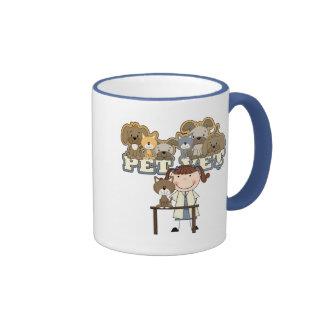 Pet Vet Brunette Female Tshirts and Gifts Ringer Mug