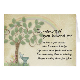 Pet waiting at Rainbow Bridge pet loss, memorial Card