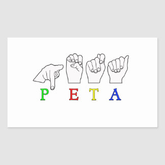 PETA  ASL FINGERSPELLED SIGN NAME STICKER