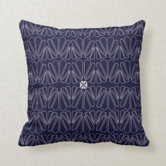 Petal Fan Pattern Blue and White Decor Pillow
