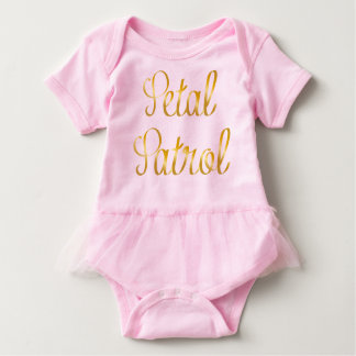Petal Patrol Baby Tutu in Simulated Gold Ribbon Baby Bodysuit