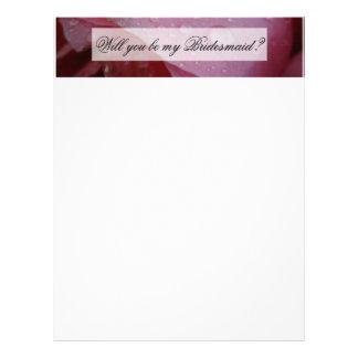 Pétales de rose roses en-tête de lettre customisée
