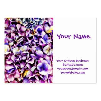 Pétales pourpres de fleur d'hortensia de belle lav modèle de carte de visite