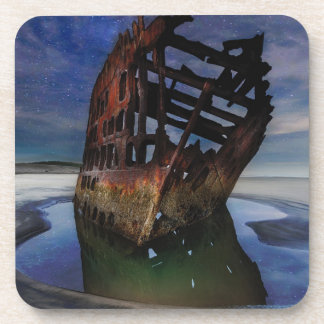 Peter Iredale Shipwreck Under Starry Night Sky Coaster