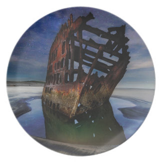 Peter Iredale Shipwreck Under Starry Night Sky Plate