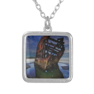 Peter Iredale Shipwreck Under Starry Night Sky Silver Plated Necklace