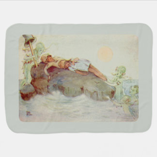 Peter Pan and Wendy Asleep with Mermaids Swaddle Blankets
