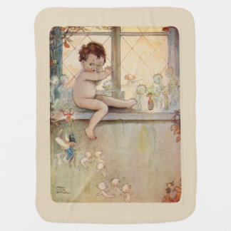 Peter Pan at window - fairies -beige background Baby Blanket