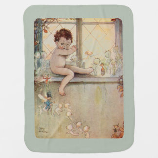 Peter Pan at window with fairies - moss background Baby Blanket