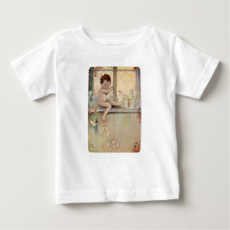 Peter Pan Baby at Window with Fairies Baby T-Shirt