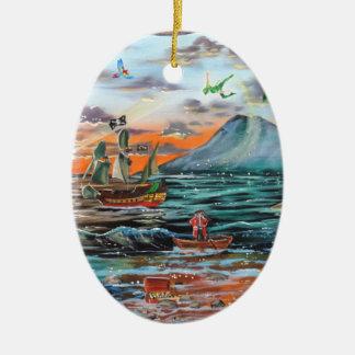 Peter Pan Hook's cove Tinker Bell painting Ceramic Ornament