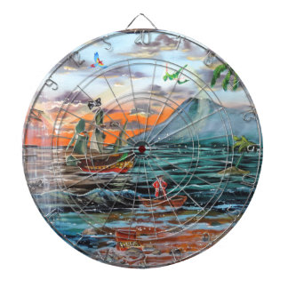 Peter Pan Hook's cove Tinker Bell painting Dartboard