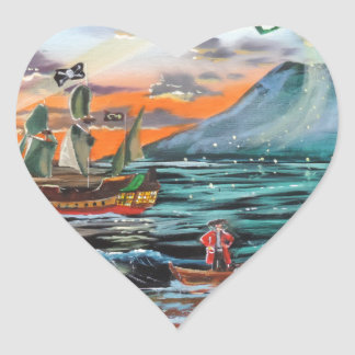 Peter Pan Hook's cove Tinker Bell painting Heart Sticker