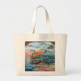 Peter Pan Hook's cove Tinker Bell painting Large Tote Bag