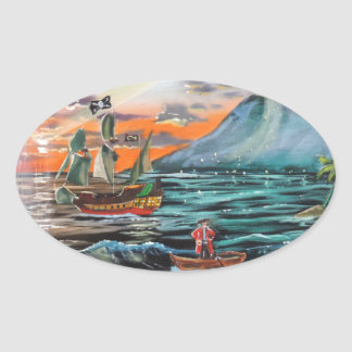 Peter Pan Hook's cove Tinker Bell painting Oval Sticker