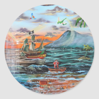 Peter Pan Hook's cove Tinker Bell painting Round Sticker