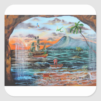 Peter Pan Hook's cove Tinker Bell painting Square Sticker
