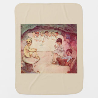 Peter Pan on mushroom Wendy Sewing Lost Boys beige Baby Blanket