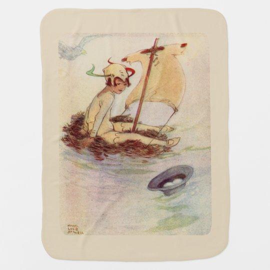 Peter Pan on nest raft - beige background Baby Blanket