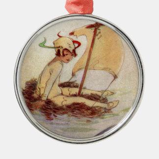 Peter Pan on Nest Raft Metal Ornament