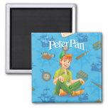 Peter Pan Sitting Down Square Magnet