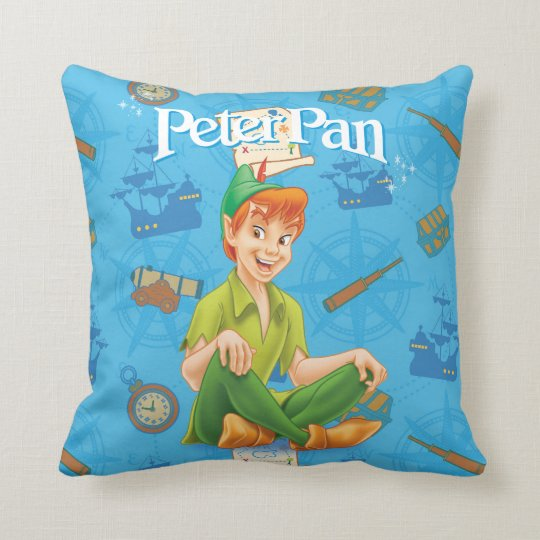 Peter Pan Sitting Down Throw Pillow