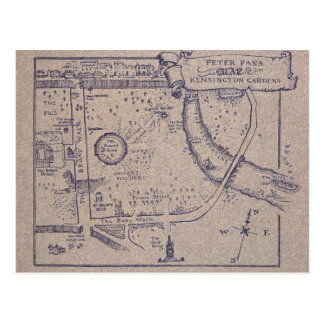 Peter Pan's Map of Kensington Gardens Postcard