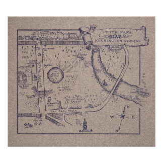 Peter Pan's Map of Kensington Gardens Poster