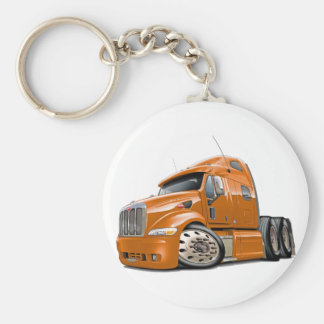 Peterbilt Orange Truck Basic Round Button Keychain