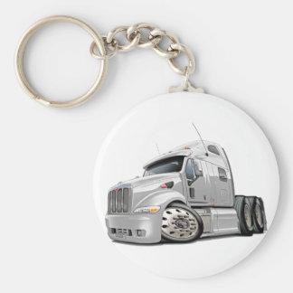 Peterbilt White Truck Basic Round Button Keychain