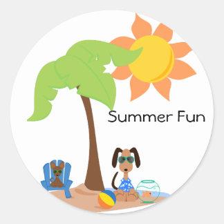 PeticularFashions SummerFun Sticket Classic Round Sticker