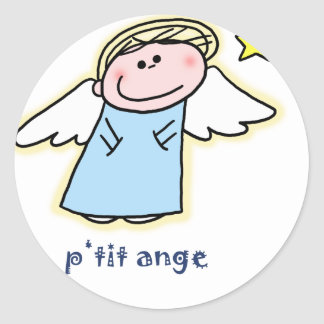 Petit Ange (little angel in French) Round Sticker