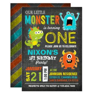 Petit anniversaire effrayant mignon de monstres carton d'invitation  12,7 cm x 17,78 cm