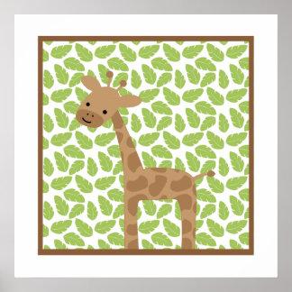 Petit art de mur de crèche de girafe de safari poster