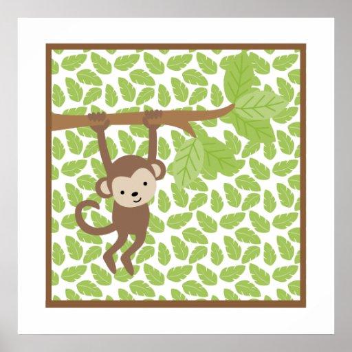 Petit art de mur de crèche de singe de safari doux posters