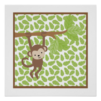 Petit art de mur de crèche de singe de safari doux poster