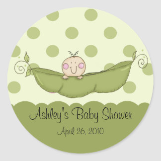 Petit autocollant doux de baby shower de pois