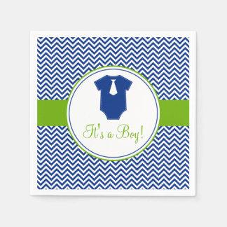 Petit baby shower de vert bleu de Chevron d'homme Serviettes Jetables