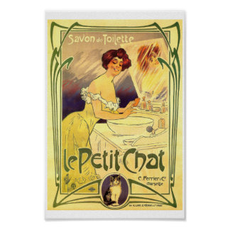 Petit chat French vintage soap label ad Lady cat Poster