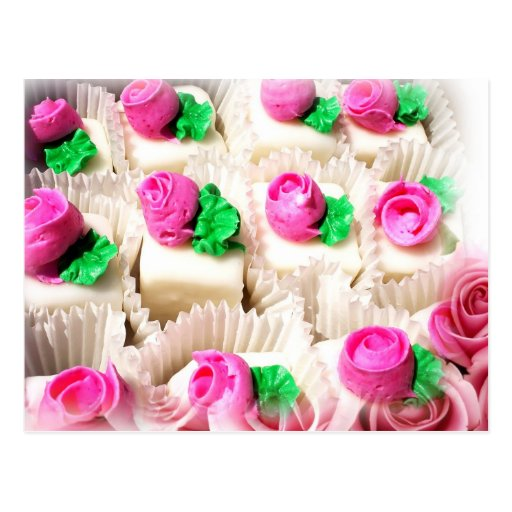 Petit Fours topped with delicate, pink rosebuds Post Card