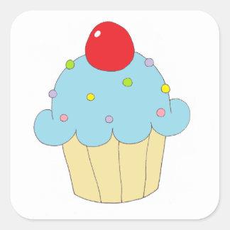 Petit gâteau bleu sticker carré