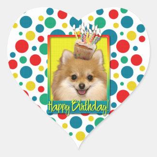 Petit gâteau d'anniversaire - Pomeranian Sticker Cœur