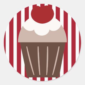 Petit gâteau de cerise de chocolat de KRW barré Sticker Rond