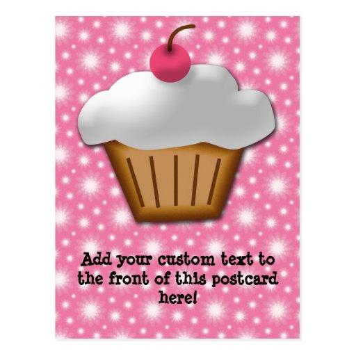 Petit gâteau de coupe-circuit avec la cerise rose cartes postales